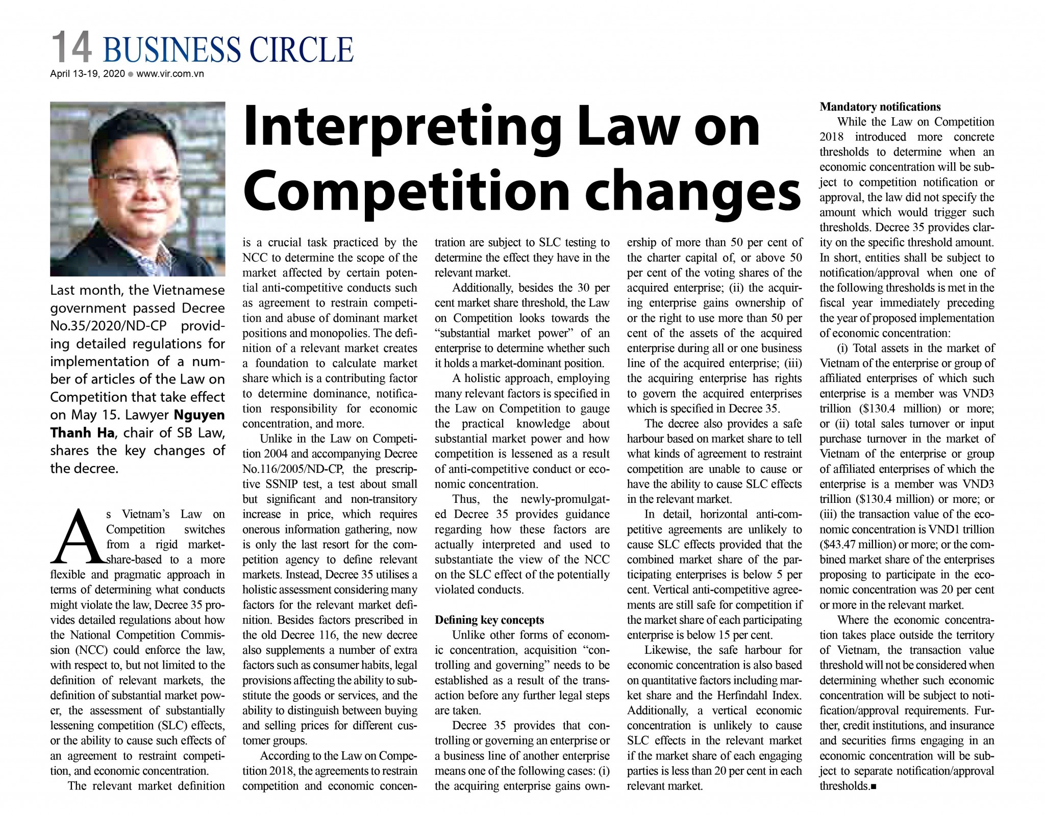 INTERPRETING LAW on competition CHANGES.